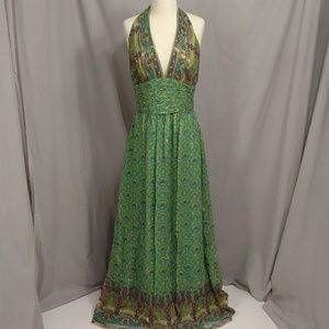 Upscale Boho Maxi Dress Kay Unger sz4 Green wMetal